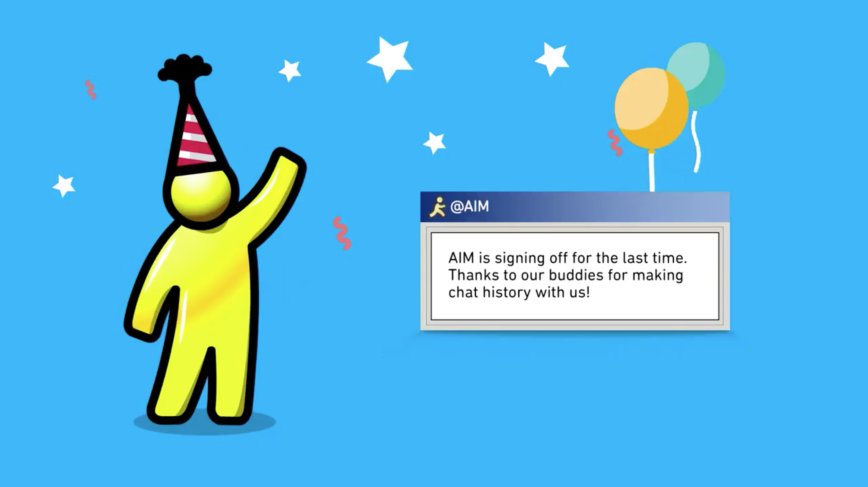 AOL Instant Messenger 'Running Man' waving goodbye